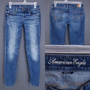 AMERICAN EAGLE Skinny Jeans Low Rise Stretch Blue